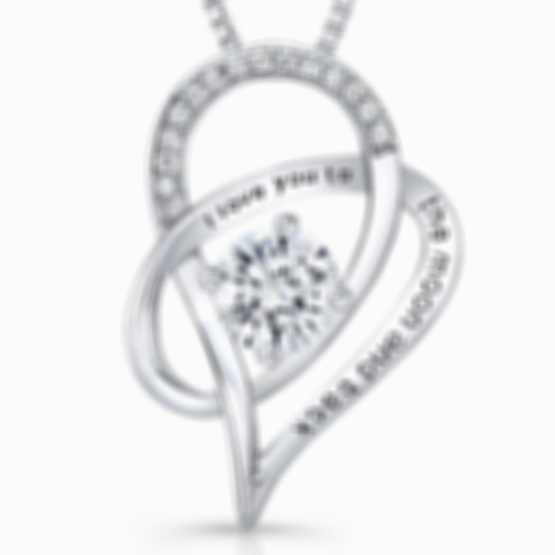 S925 Silver Heart Shaped Necklace I Love You To The Moon and Back