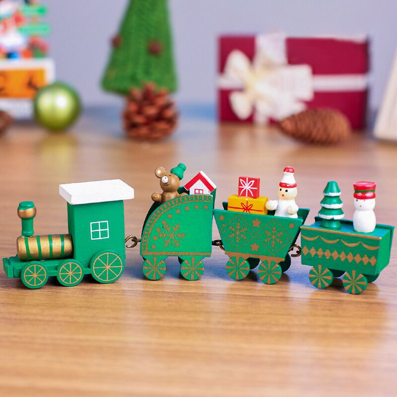 Cute Wooden Mini Train Ornaments, Xmas Train with Snowman for Kids Gift Christmas Party Favor Kindergarten Home Decoration (Red)