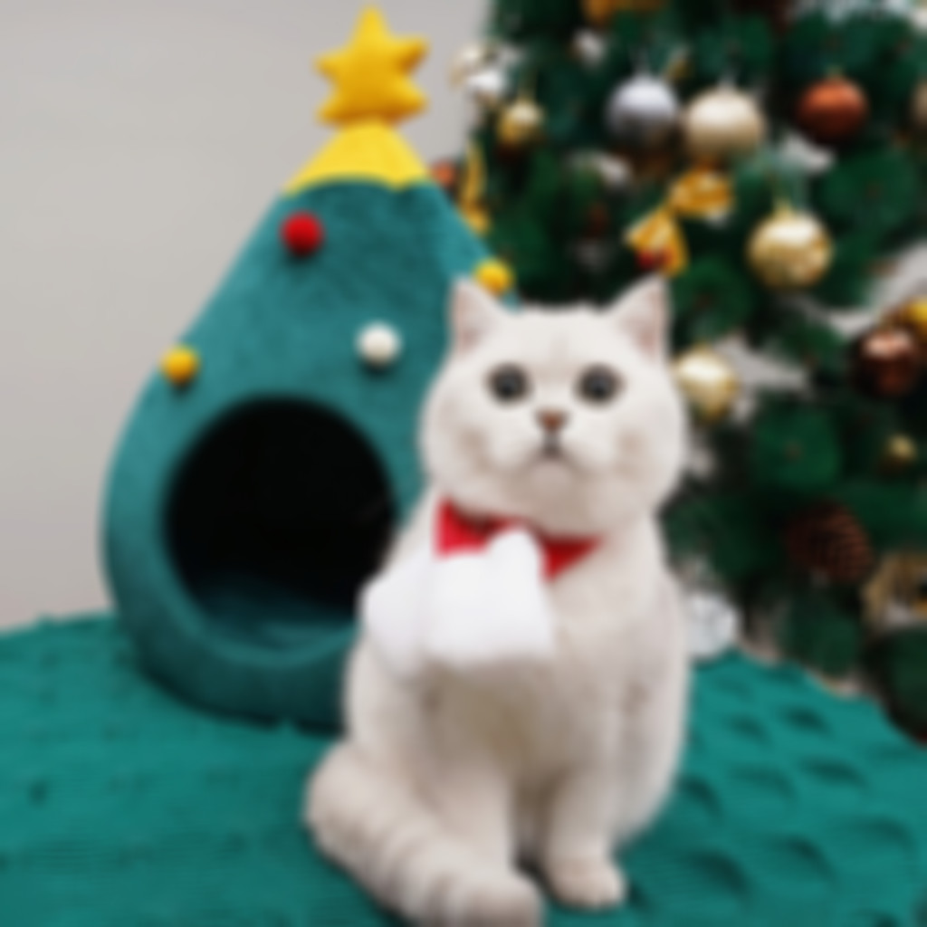 Arosetop Durable Pet bed Cat Christmas tree shape Cat House for Winter