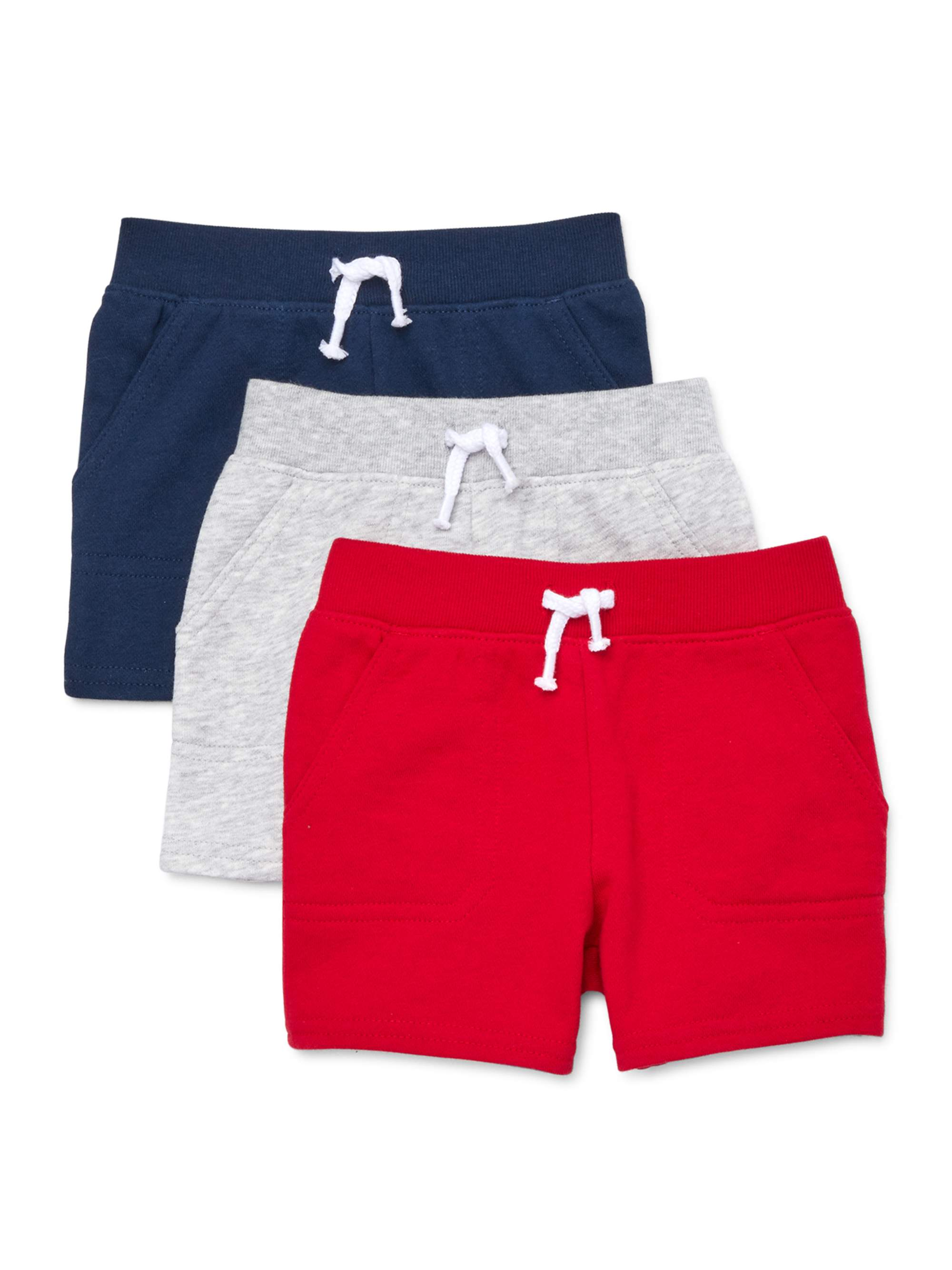 Garanimals Baby Boy Solid French Terry Shorts Multi-Pack, 3pc