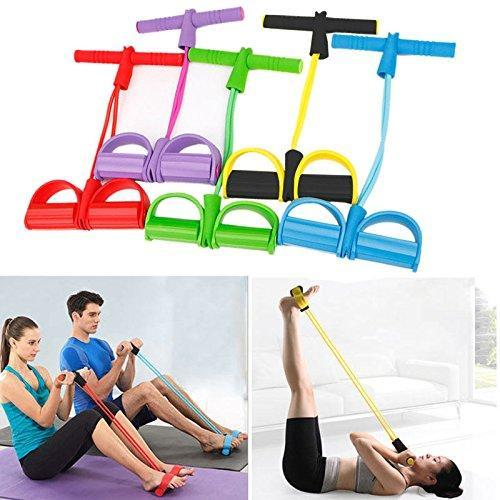 SKRTEN 4-Tube Foot Pedal Resistance Band Elastic Pull Rope Fitness Equipment