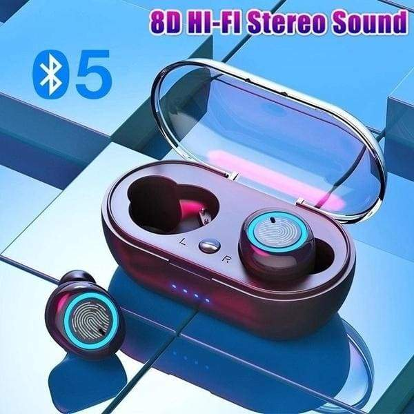 NEW Bluetooth 5.0 Earbuds 8D HI-FI Stereo Sound Sport Headphones Automatic Pairing Smart Touch Control Wireless Earphones with Charging Case
