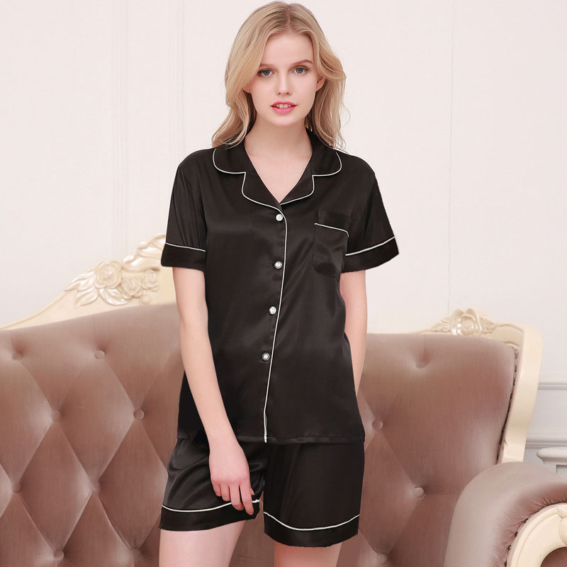 2-piece solid color short-sleeved tops+ shorts pajamas