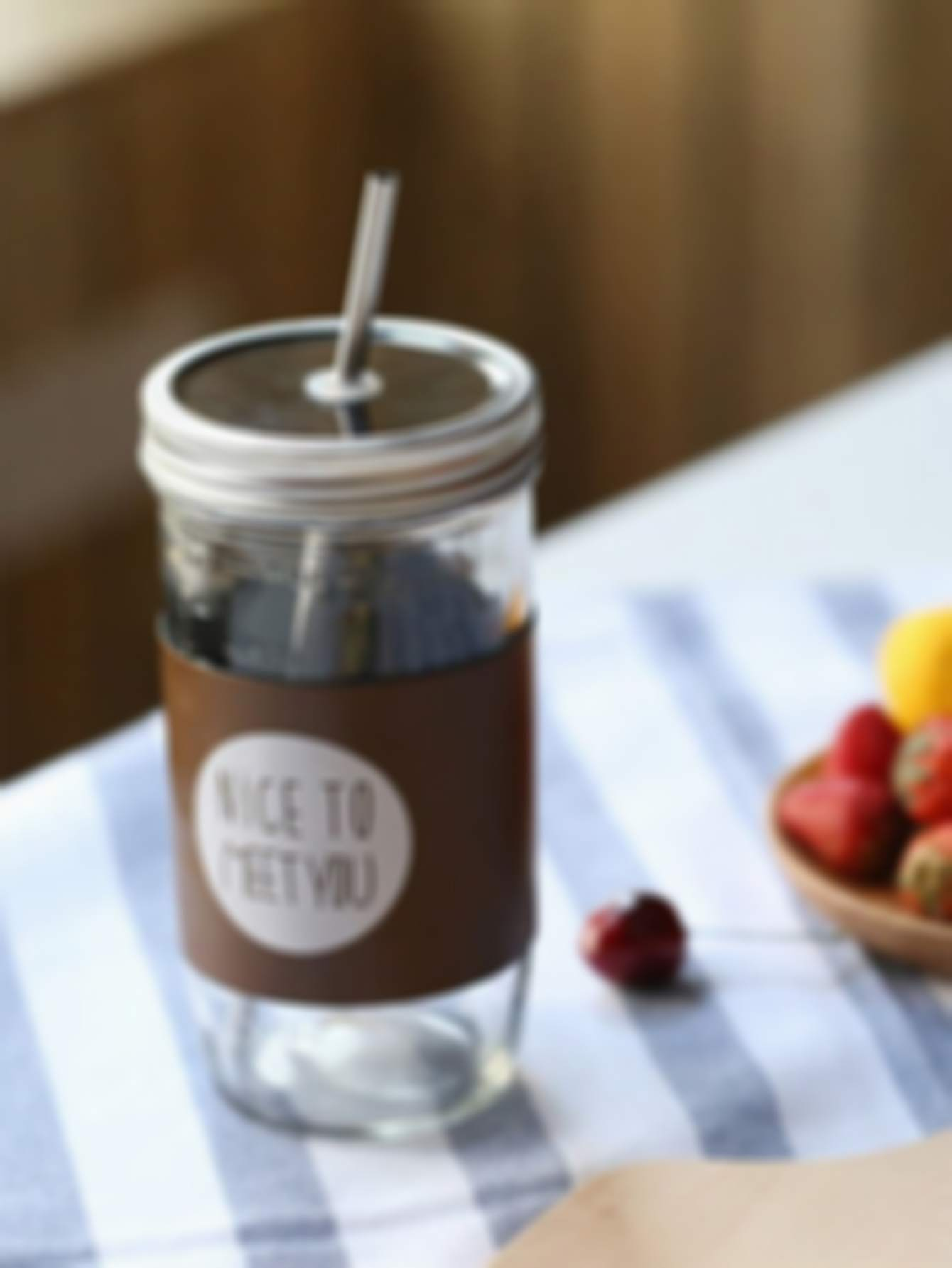 Transparent Glass Water Bottle With Straw & Lid