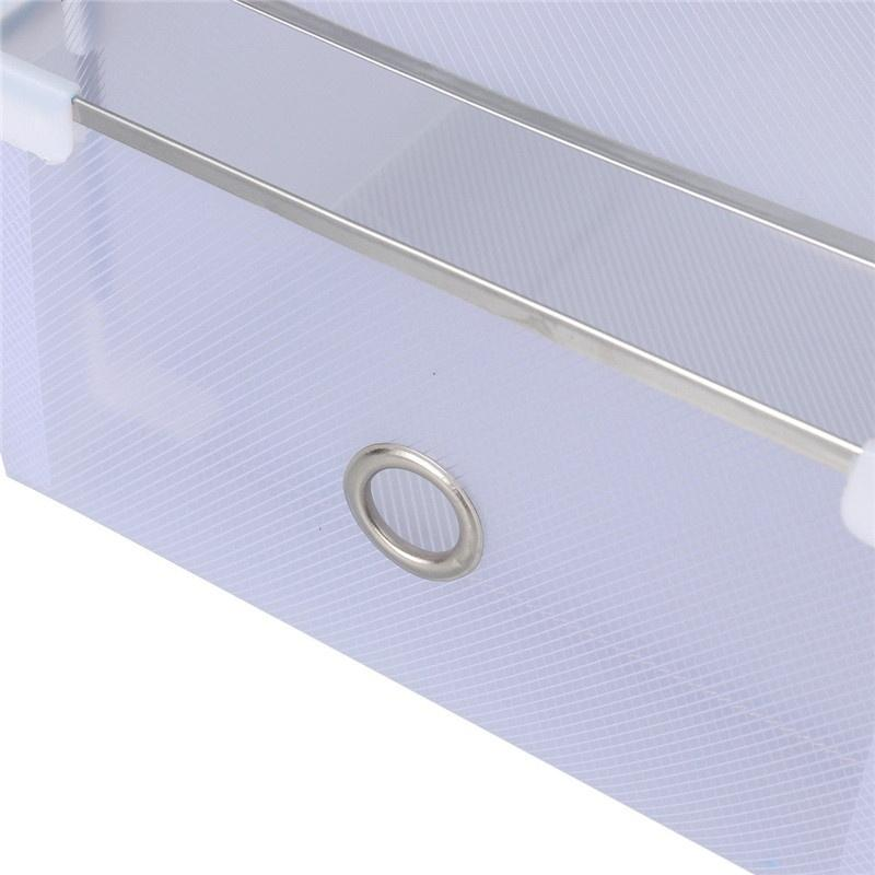 5PCS Foldable Clear Plastic Home Shoes Box Organiser Drawer Stackable Storage Box