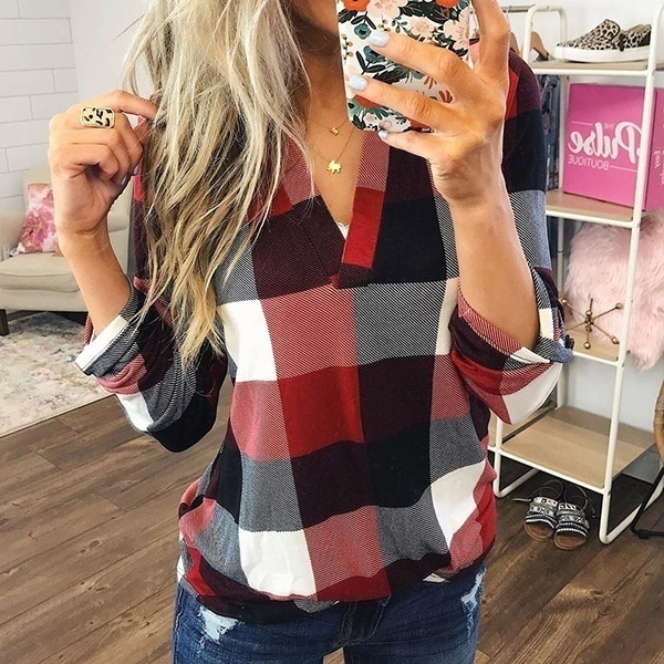 Ladies Female Casual Cotton Long Sleeve Plaid Shirt Women Slim Outerwear Blouse Tops Chemise Femme