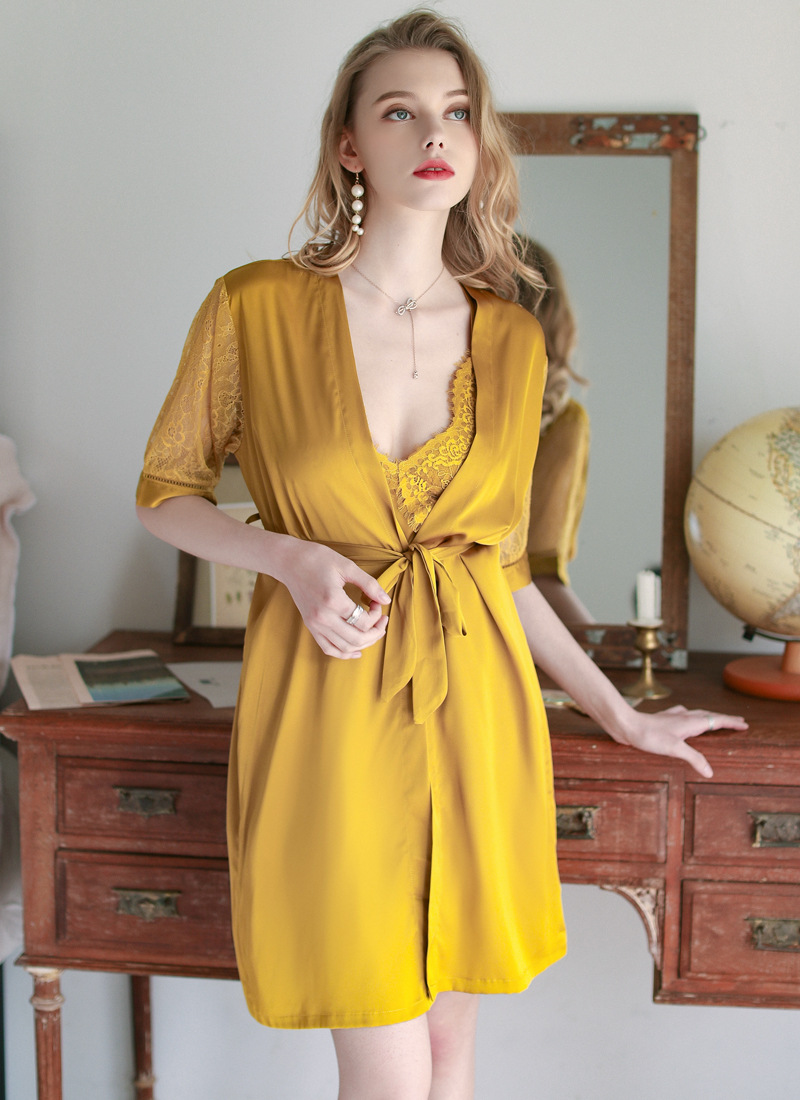Sexy Sling Lace Nightgown Nightdress Two-piece Suit Chest Pad Ice Silk Homewear