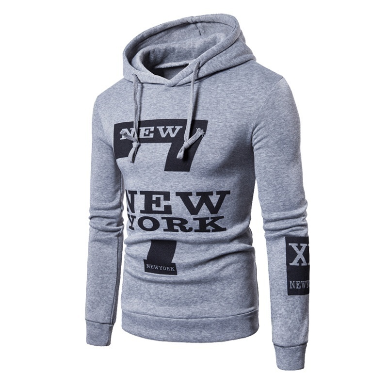 2020 Men's Casual New York Letter Print Sweater Hoodie Pants Fashion Set Pants+Top