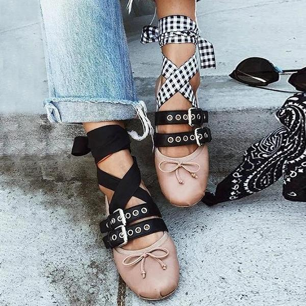 Twinklemoda Blet Buckle Bow Lace Up Flats