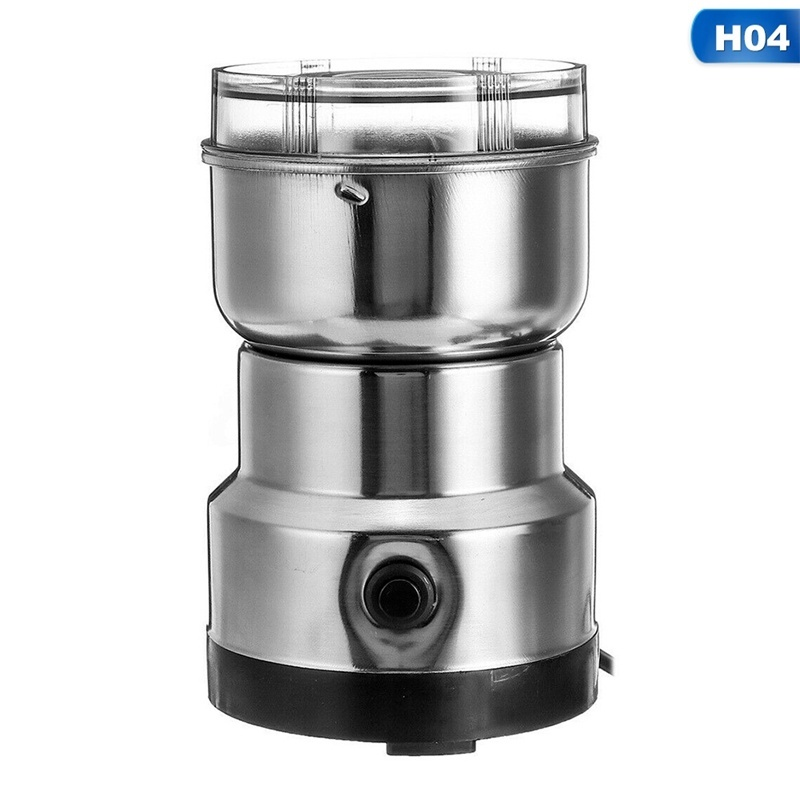 220V Electric Stainless Steel Semi-Automatic Coffee Bean Grinder Home Nuts Salt Spices Corns Grinding Milling Machine Kitchen Accessories