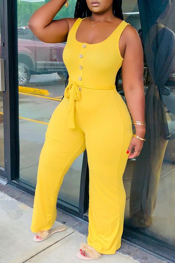Solid Color Sleeveless Wide-leg Jumpsuit