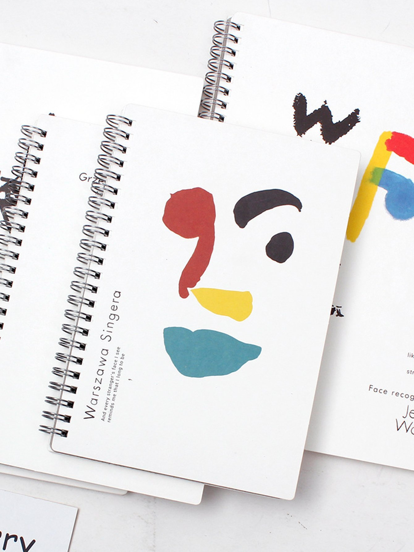 Abstract Face Print Spiral Notebook 1 Pack