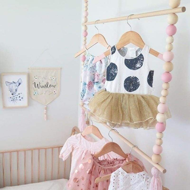 Wooden Beads Clothes Rack Kids Room