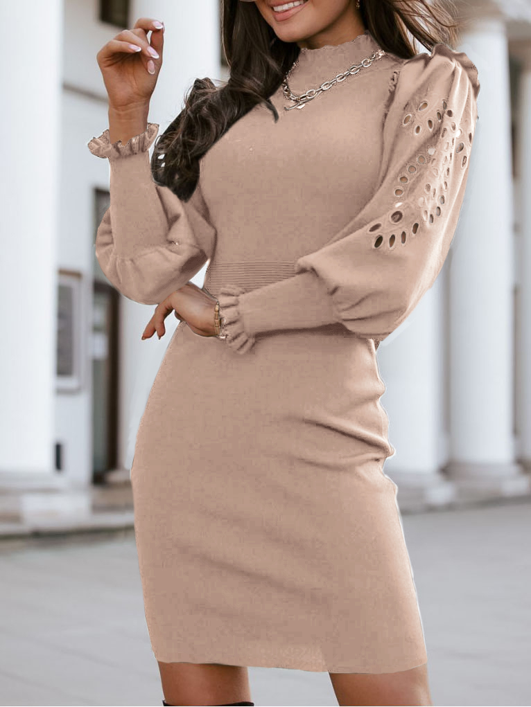 Women'S Autumn And Winter Sexy Knitted Long Sleeve Dress