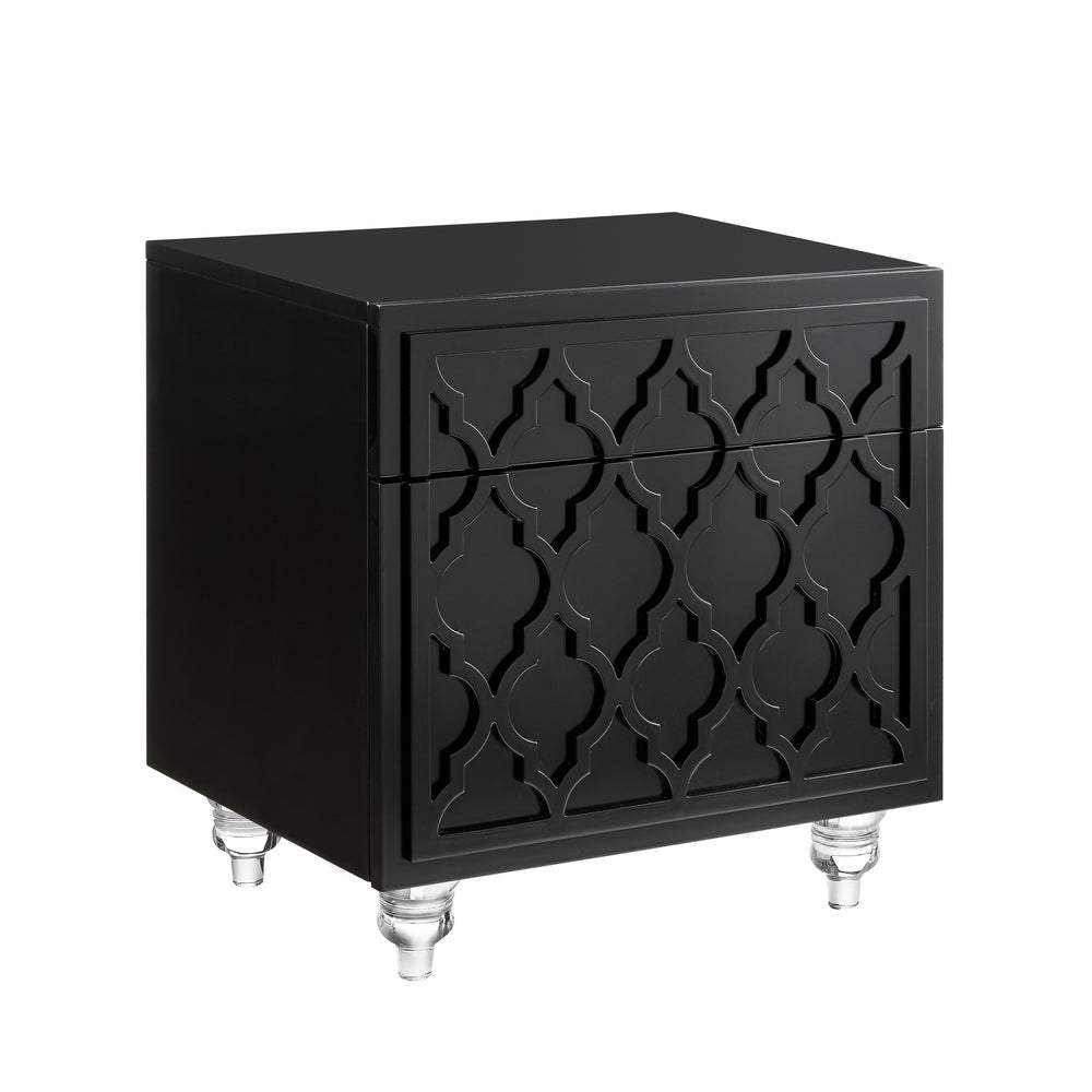 Cara Wood Modern Trellis Lacquer Side/Accent Table/Nightstand
