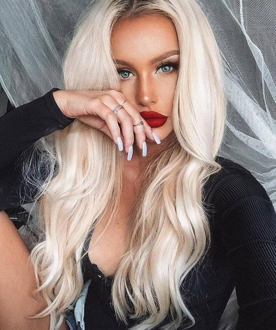 2020 Fashion Ombre Blonde Wigs Black To Platinum Blonde