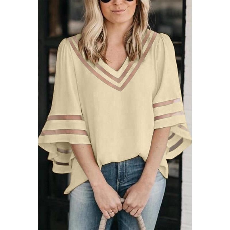 Colorful Summer New Women Chiffon Fashion Loose Half Sleeve See-through Cool Shirts Casual Lady V-Neck Blouse