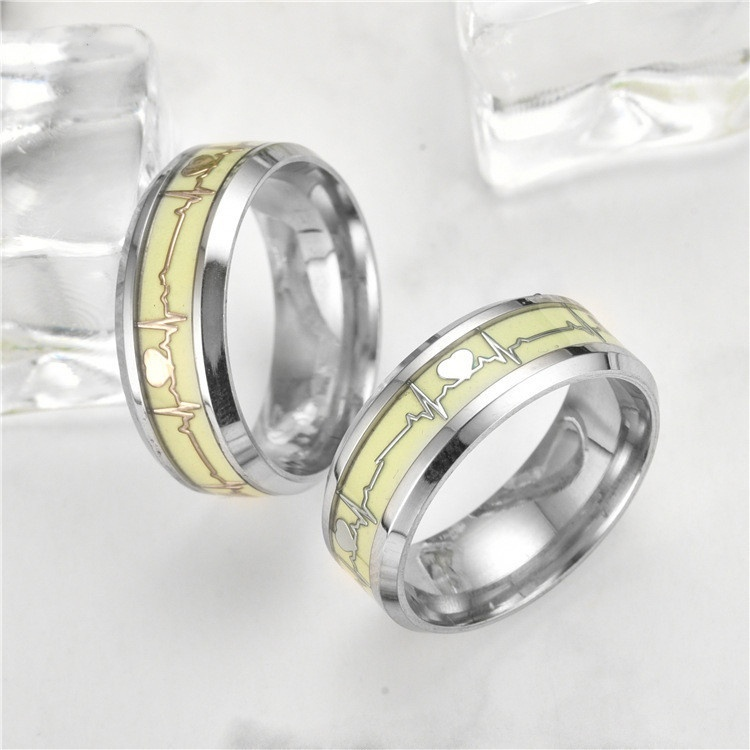 Fashion Dark Luminous ECG Ring Stainless Steel Ring Promise Heartbeat Ring Glowing Jewelry for Men Women
