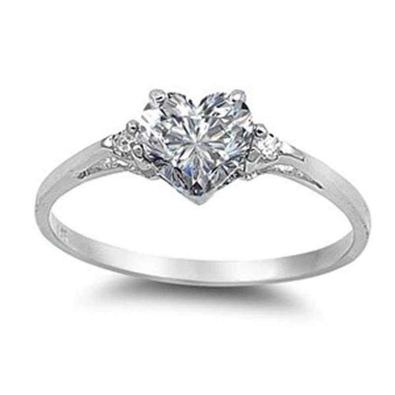 women's fashion 925 Sterling Silver Heart white sapphire Promise Ring  wedding rings for women size 6 7 8 9 10