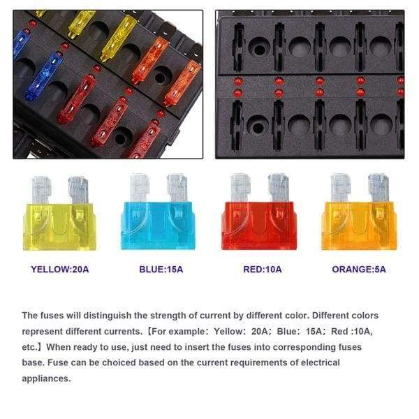 6 Ways Blade Fuse Box Holder with LED Warning Indicator Damp-Proof Cover Fuse Block for Car (Screw Terminal)