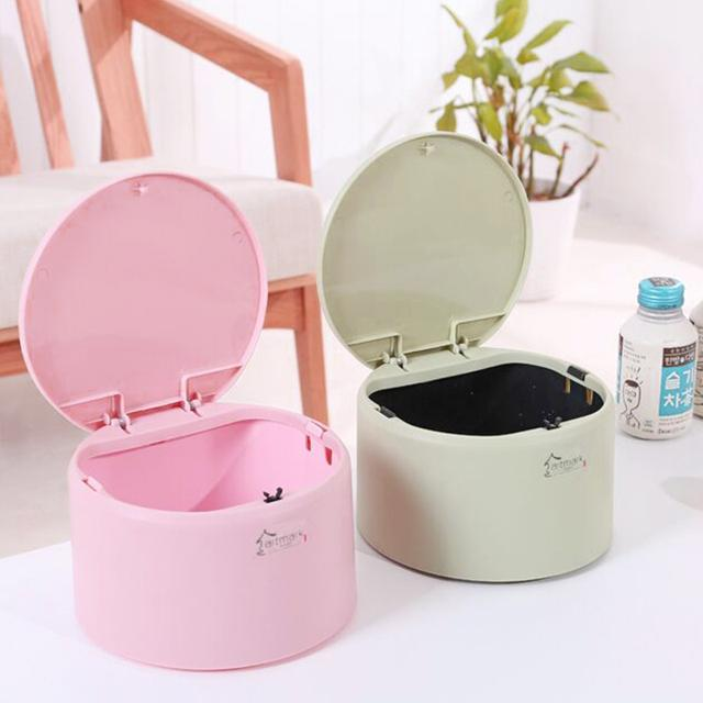 Eco-friendly Desktop Trash Can , Mini Durable Plastic Waste Container, Home Kitchen Office Rubbish Bins with Push-on Cover trash can-1.20