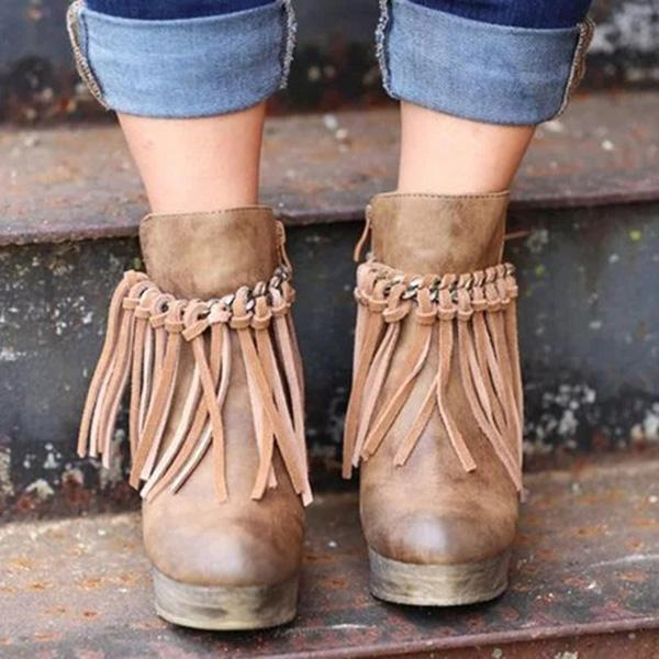 Faddishshoes Artificial Leather Tassel Wedge Boots