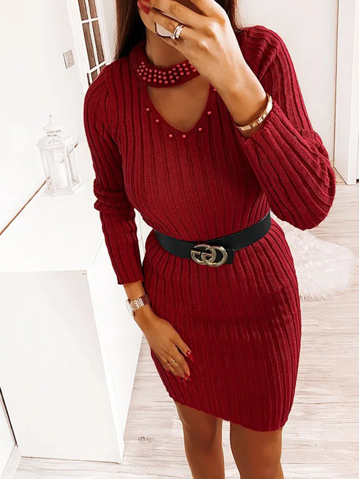 Women'S Tight Knitted Sexy Beaded Dress