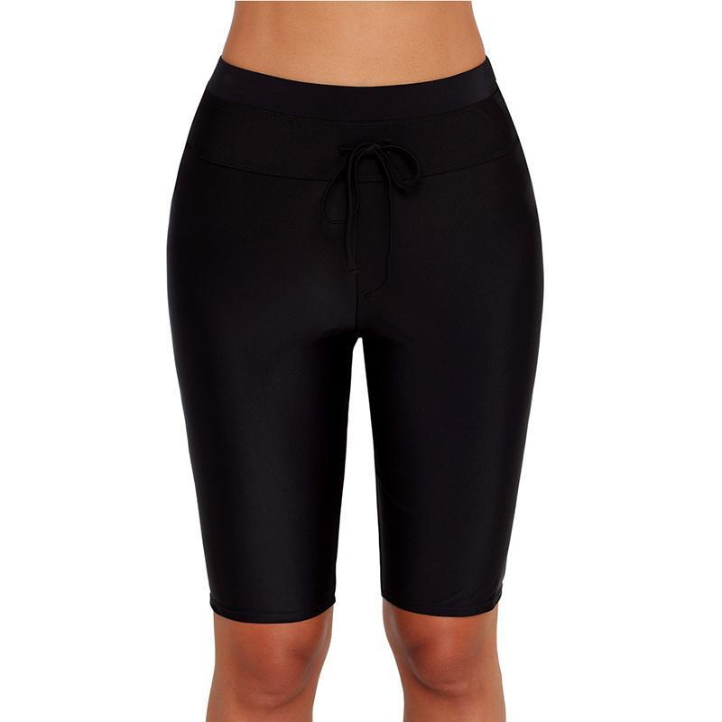 Drawstring Slim Five Point High Waisted Swimming Trunks