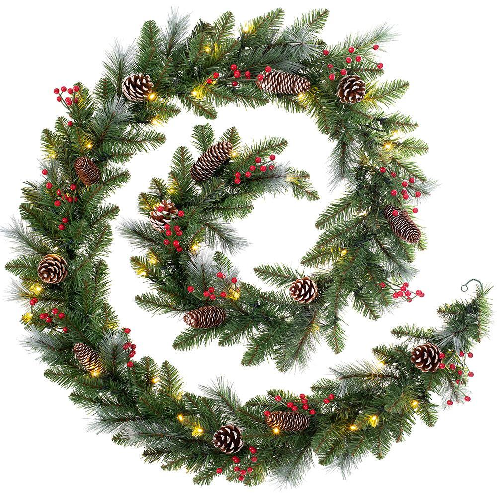 Pre-Lit Decorated Christmas Garland, 60 Warm White LED Lights, 9 ft