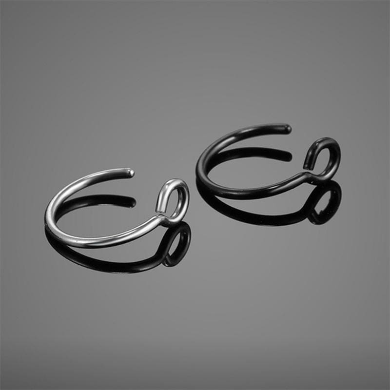 5 Pcs/Lot 316L Surgical Steel Faux Nose Hoop Ring Clip on Nose Ring Faux Nose Ring Labret Lip Rings Ear Cuff C Clip Labret Rings Fake Piercing Tragus Earrings Faux Nose Piercing Fake Nose Ring