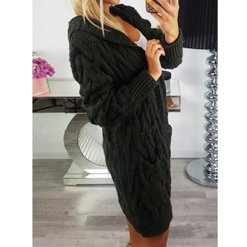 Women's hooded cable knit cardigan sweater open front chunky long cardigan