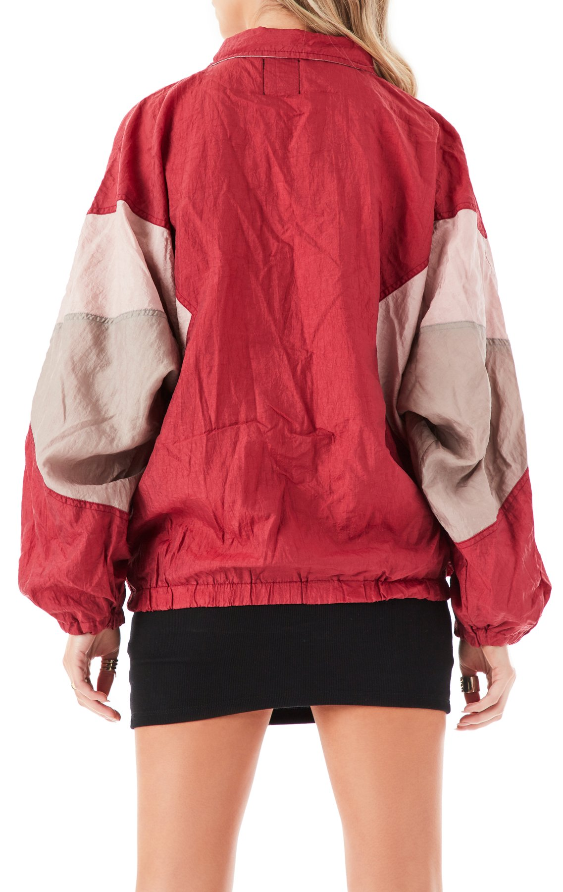 Red zipper long sleeve stitching loose jacket