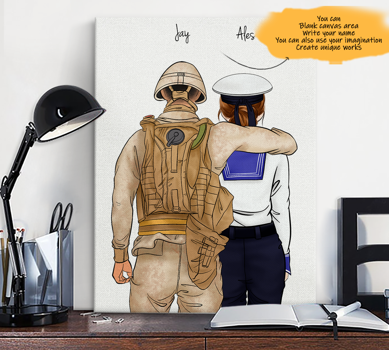 He is My Friend! Hand Draw Custom Canvas-Print Gift Soldier-Tan&Navy