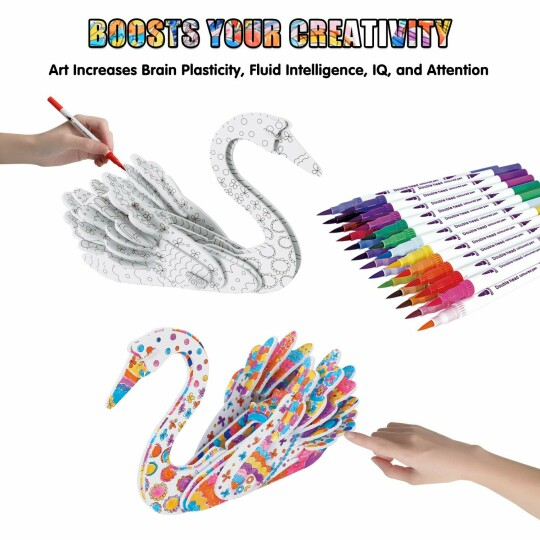 🎉50% OFF🎉3D Coloring Puzzle Set ( Include 12 Color Markers )