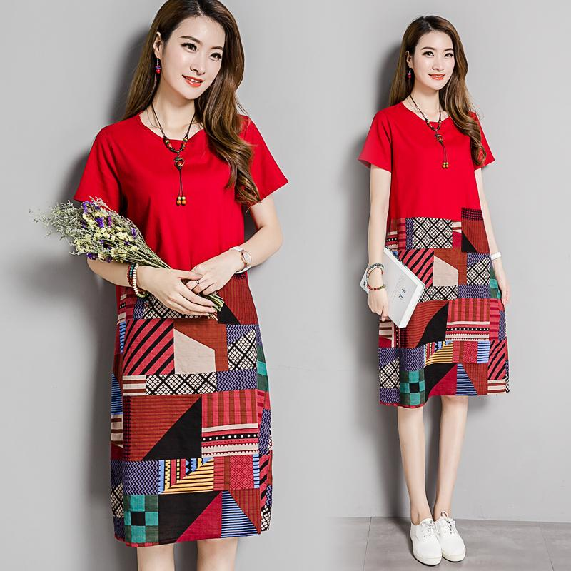 Ethnic style  Cotton  linen stitching dress