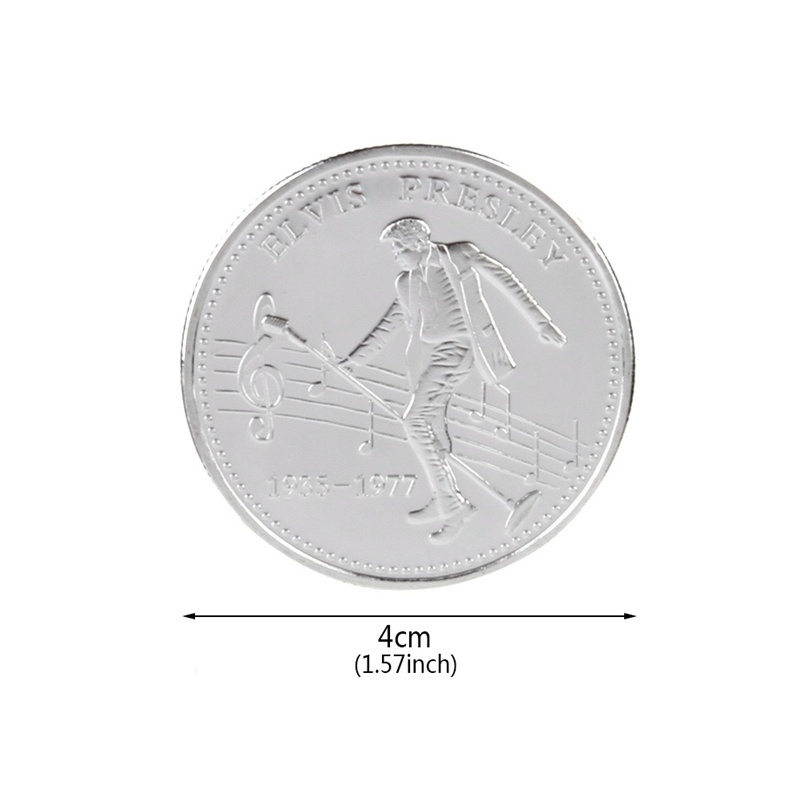 1Pc Elvis Presley Gold Silver Plated Commemorative Coin Gift Collection Coin