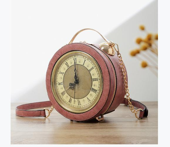 Portable Messenger Bag Clock Bag Personalized Chain Small Round Clock Modeling