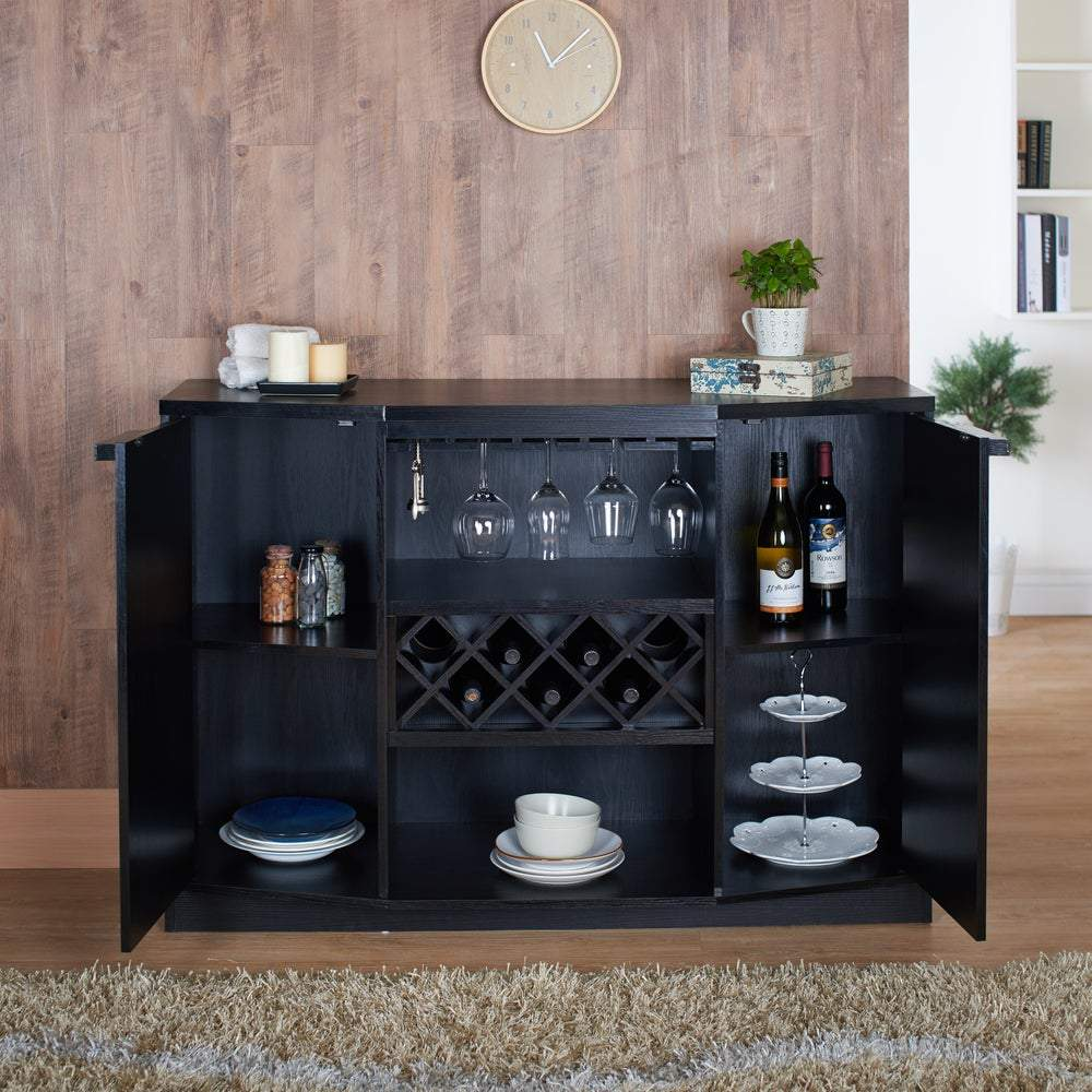 Furniture of America Towe Contemporary 51-inch Wine Bar Buffet - Black