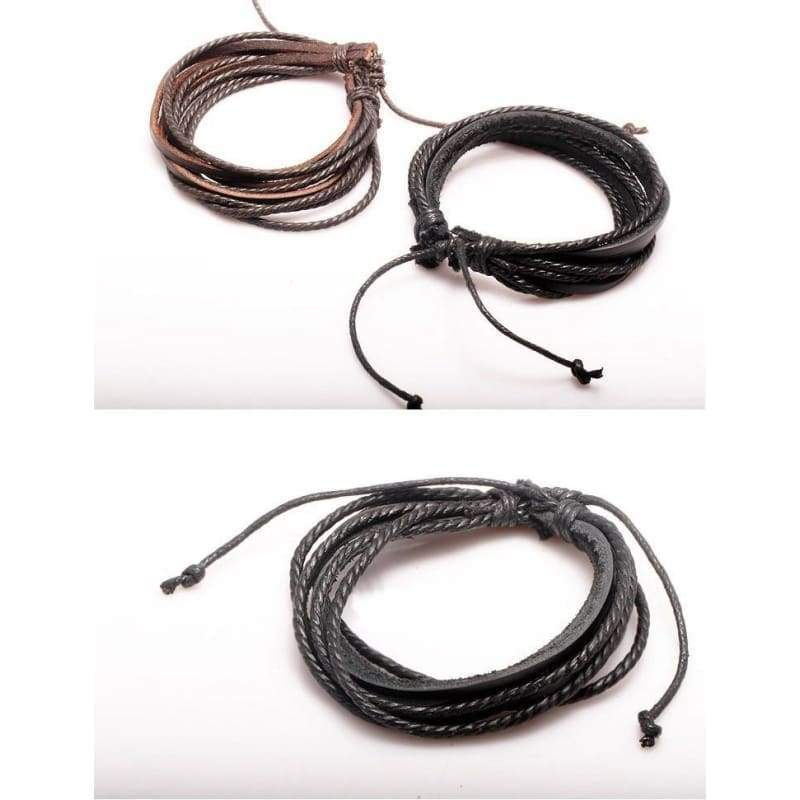 Fashion Jewelry Wrap multilayer Leather Braided Rope Wristband men Love bracelets & bangles black/brown