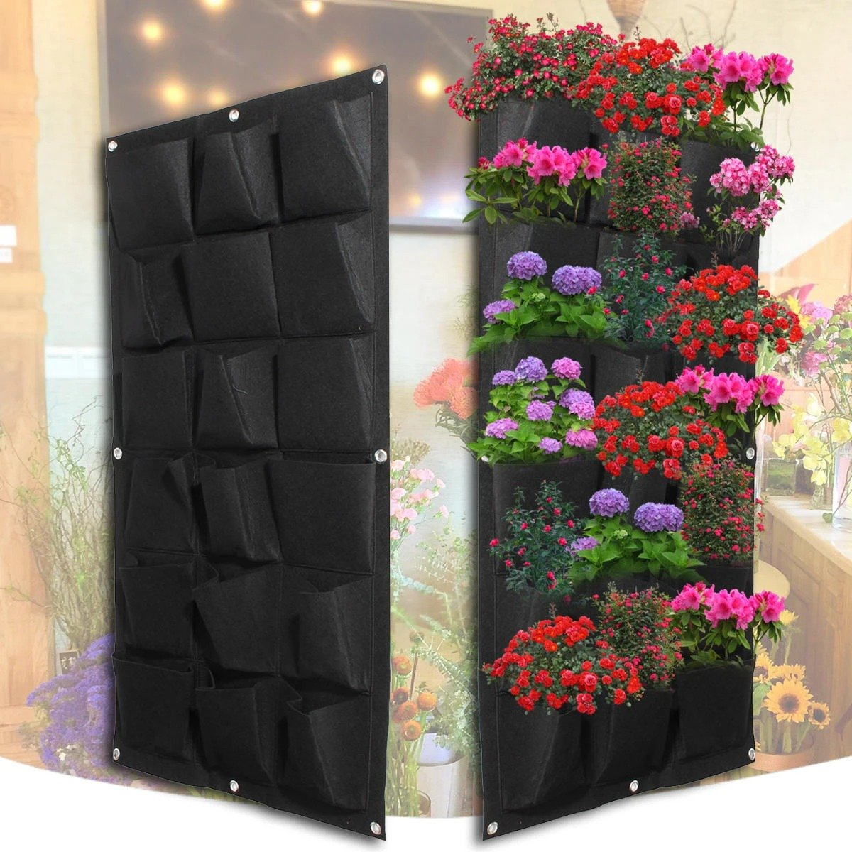 Pocket Planting Bag Garden Wall Vertical Flower Herb Greening Hanging Outdoor