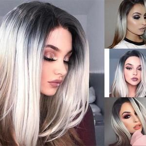 2021 New Lace Front Wigs Sunset Ombre Wig Grey To Pink Hair Best Gray Hair Coverage