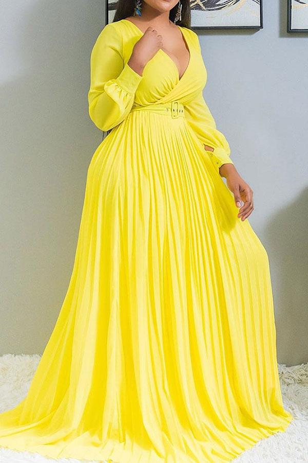 V Cross Solid Color Pleated Swing Dress