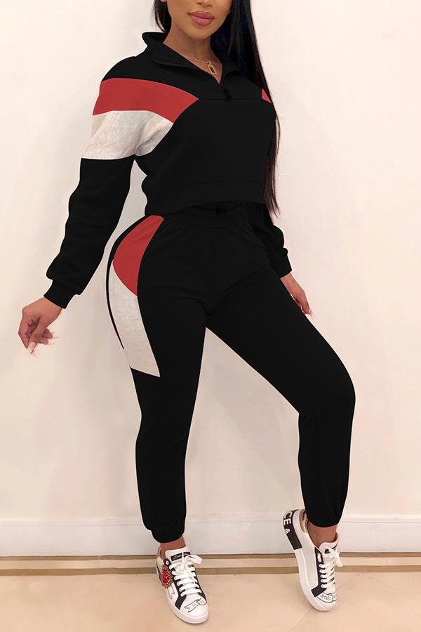 Color Block Stitching Leisure Sports Suit