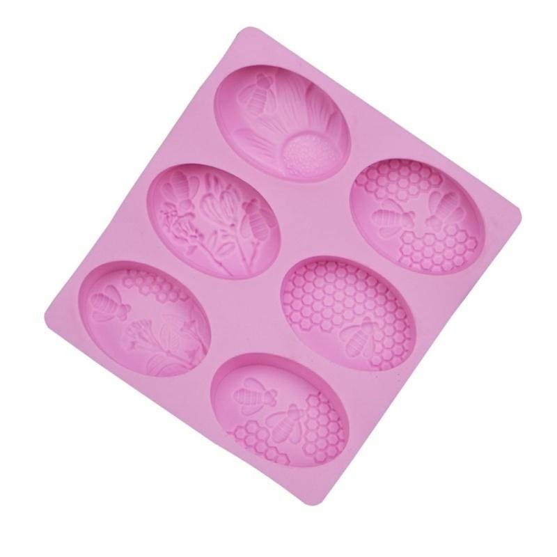 6-Cavity Oval Honey Bee Silicone Soap Mold Cake Muffin Making Mould DIY Handmade Craft