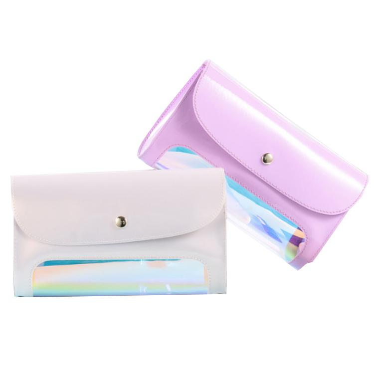 Wholesale custom fashion laser TPU window good PVC makeup bag for cosmetic,Design large capacity portable flip makeup bag Clutch-1.2