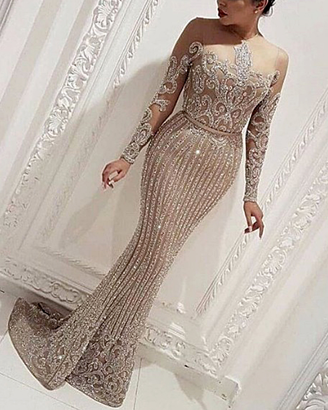 Sexy Perspective Shiny Tight-Fitting Fishtail Evening Dress
