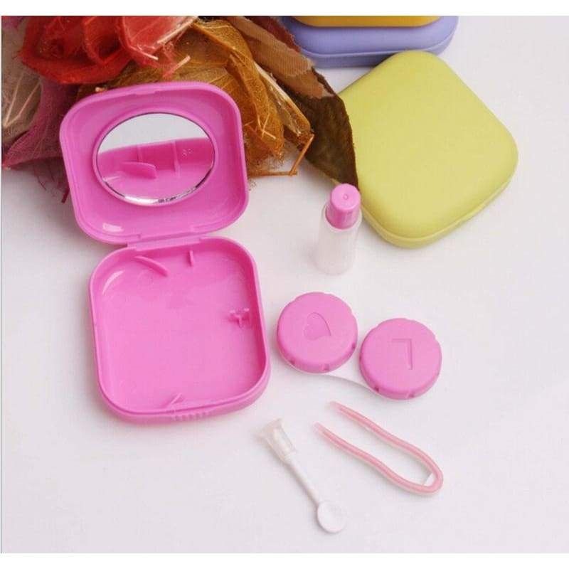 Cute Pocket Mini  Case Travel Kit Easy Carry Mirror Container lens Holder Glasses Jewelry Box