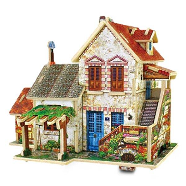 Creative DIY 3D French Style Wooden Building Model Set Pretend Play Jigsaw Puzzle -  Farm