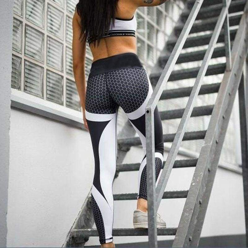 Yoga Pants Fitness Leggings Sports Elastic Breathable Female Tights Running Sexy Slim Crackle Printed