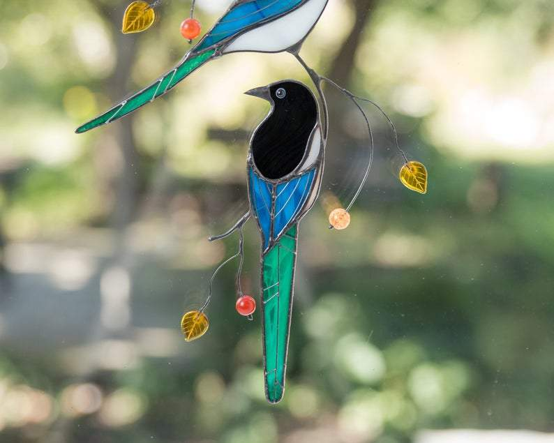 Magpies Stained Glass Suncatcher Garden Birds Custom Stained Glass Window Hangings Fathers Day Gift